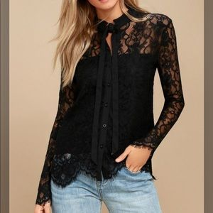 Lulu's Lovely Lady Black Lace Button-up Top